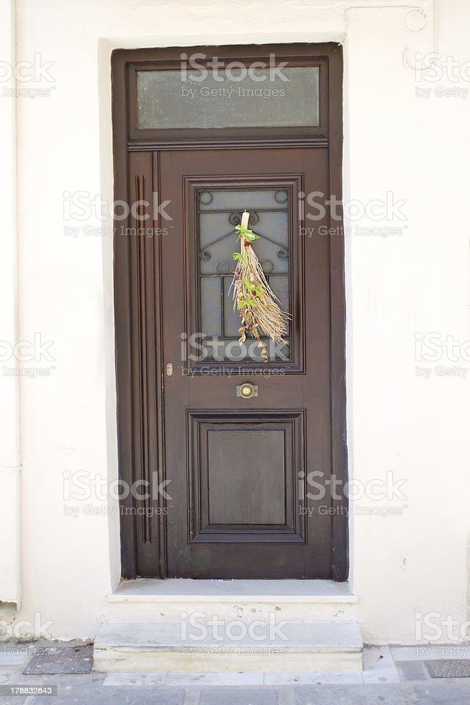 Greek door. royalty-free stock photo