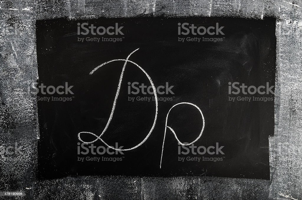 Greek Drachma Symbol on Blackboard stock photo