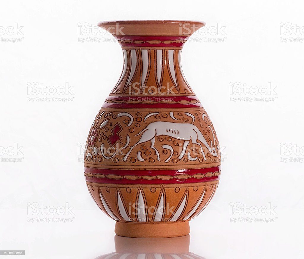 Greek earthenware vase with a pattern stock photo