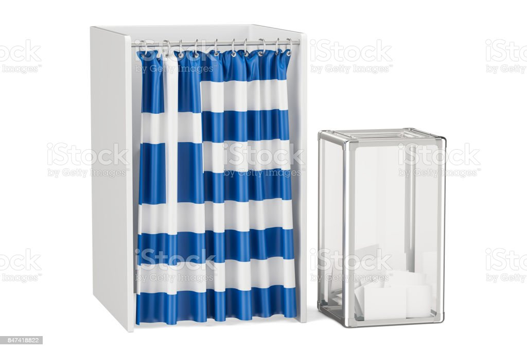 Greek election concept, ballot box and voting booths with flag of Greece, 3D rendering stock photo