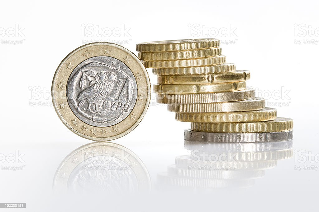 Greek Euro coin, crisis of european currency royalty-free stock photo