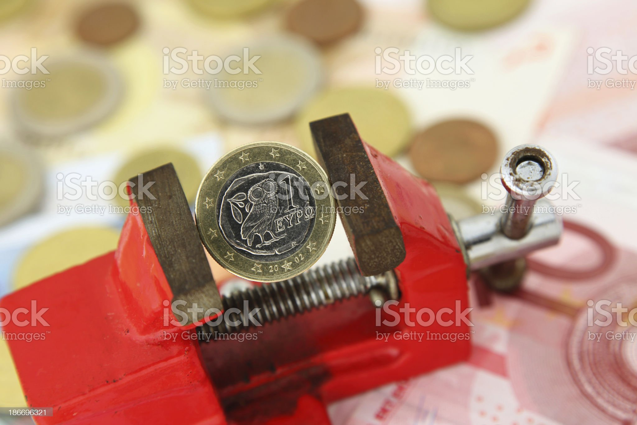 Greek Euro in the Clamp royalty-free stock photo