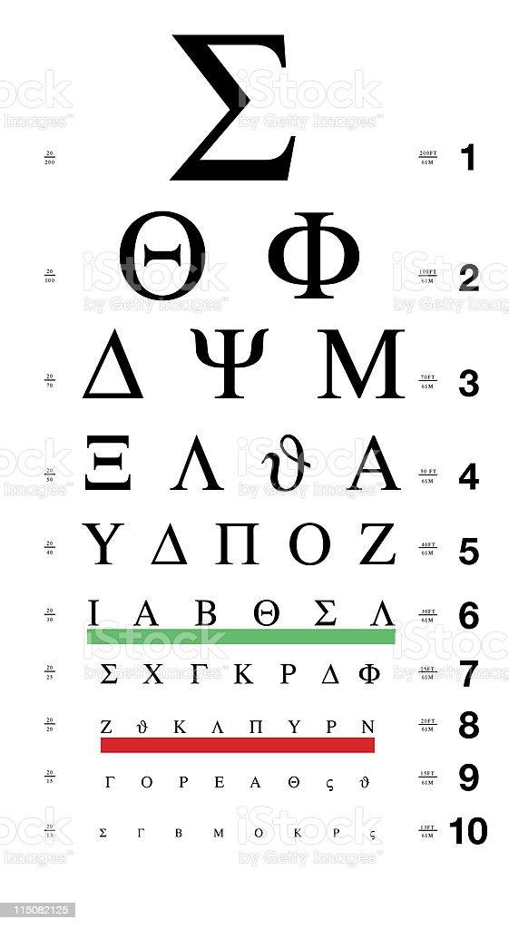 Greek Eye Chart stock photo