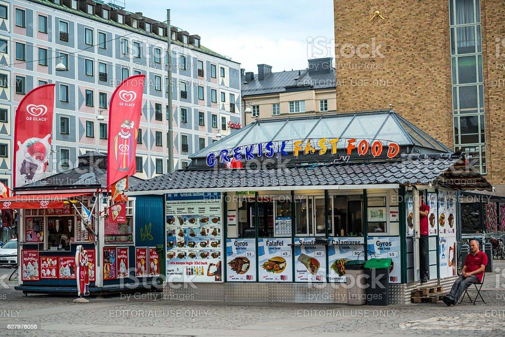 Greek Fast food kiosk on Stockholm street, Sweden stock photo