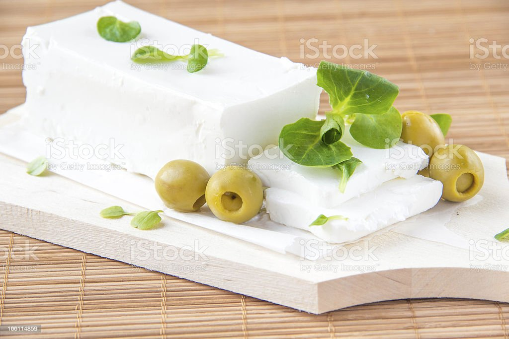 Greek feta with olive on board royalty-free stock photo