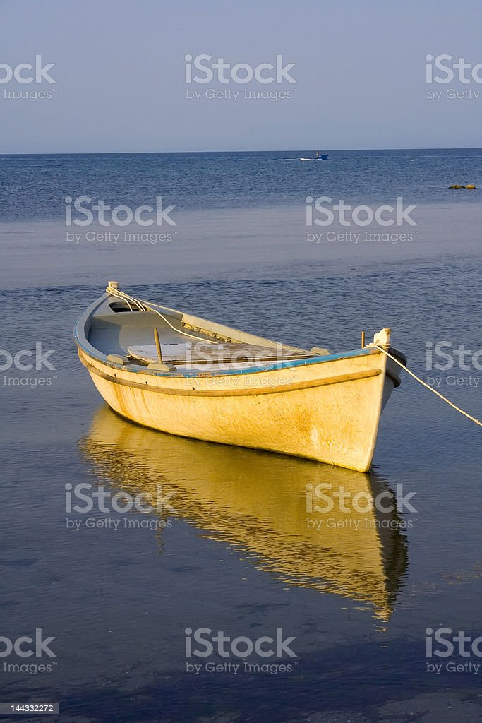 greek fishing boat on the see. royalty-free stock photo