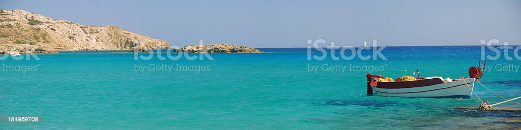 Greek Fishing Boat Panorama royalty-free stock photo