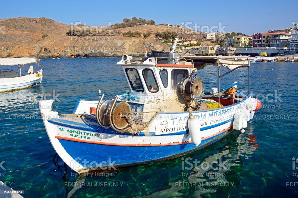 Greek fishing boat, Panormos. stock photo