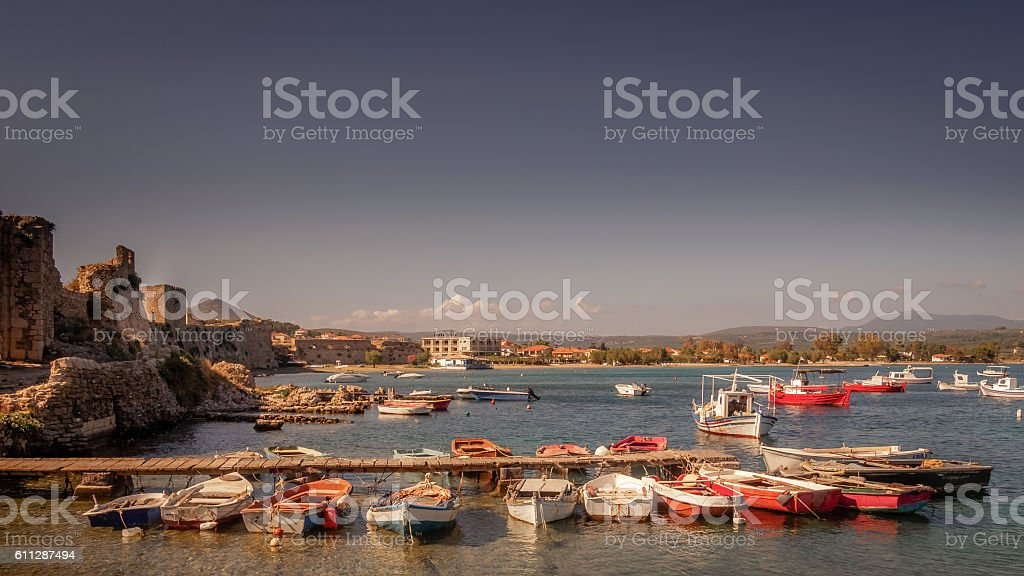 Greek fishing harbour stock photo