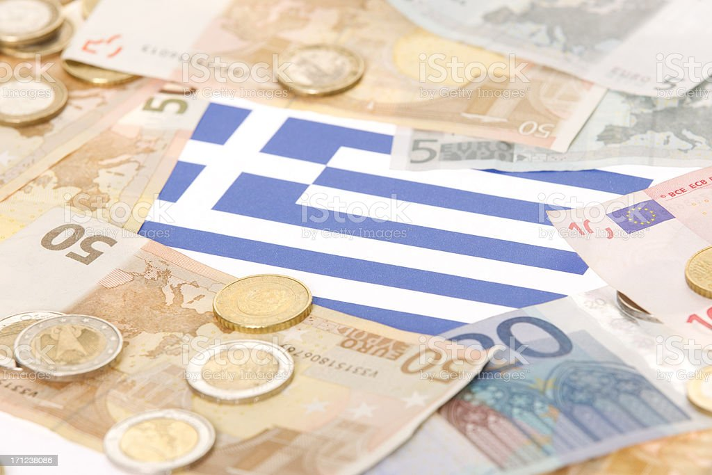 Greek Flag Among European Currencies stock photo