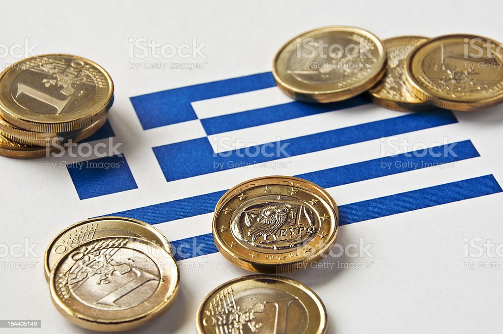 Greek Flag and Euros stock photo