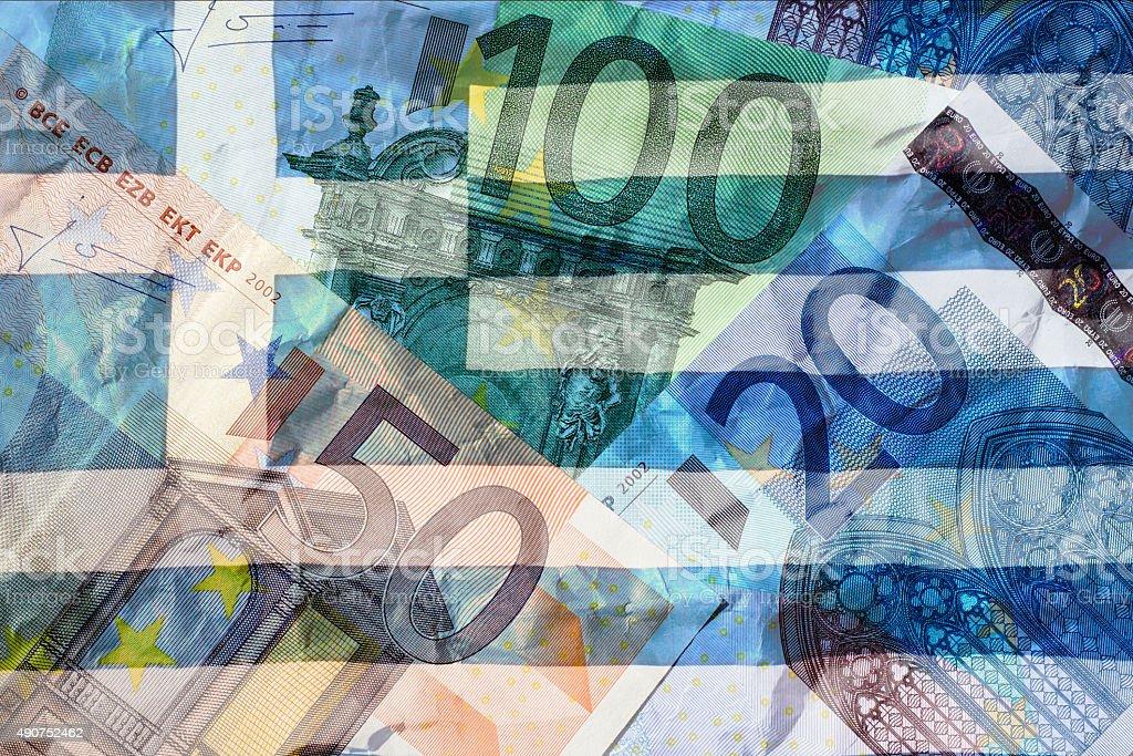 Greek flag and euros stock photo