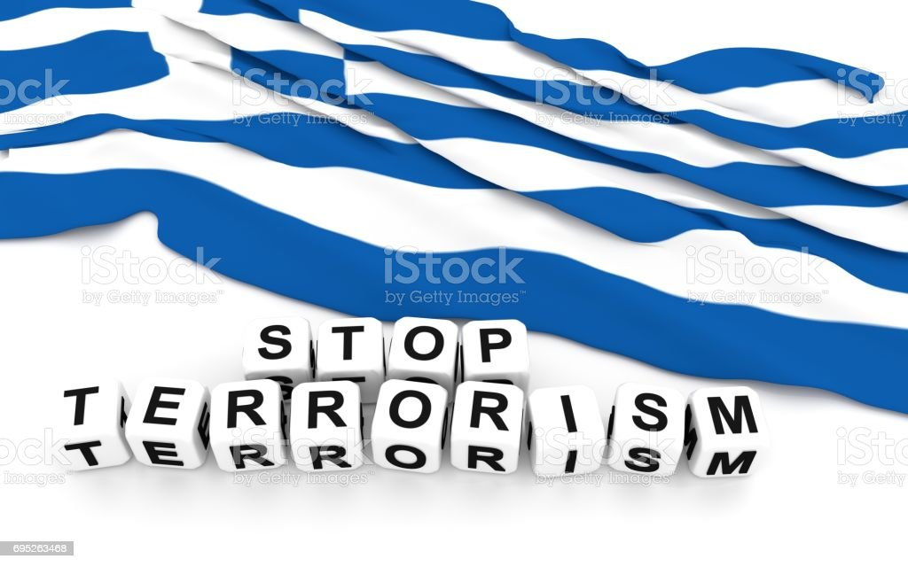 Greek flag and text stop terrorism. stock photo