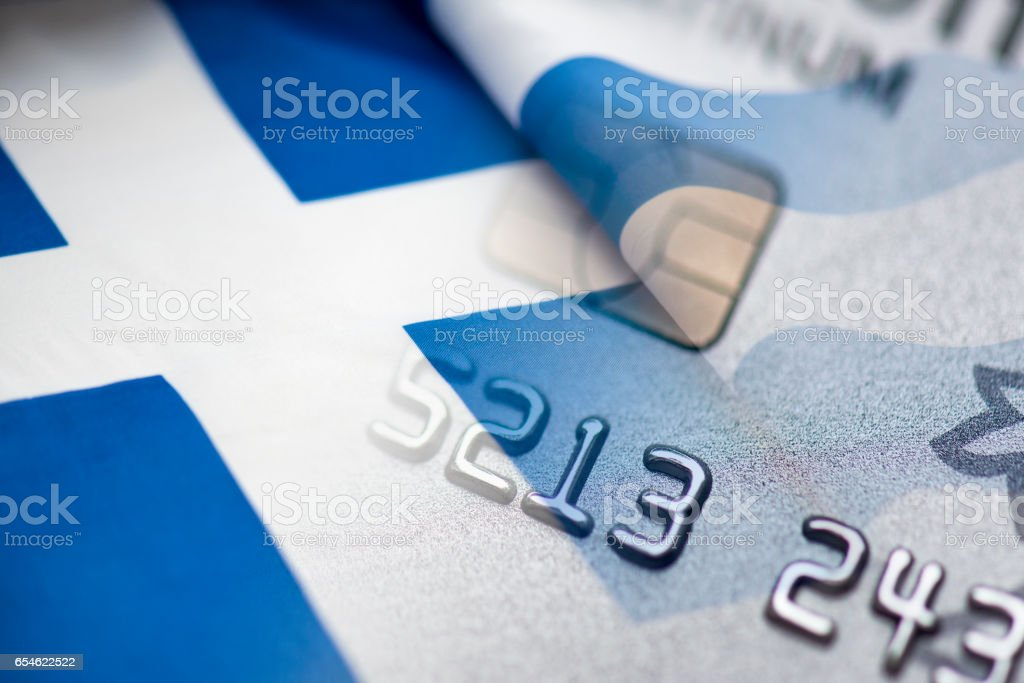Greek flag, Credit Card and Euro money, concept picture stock photo