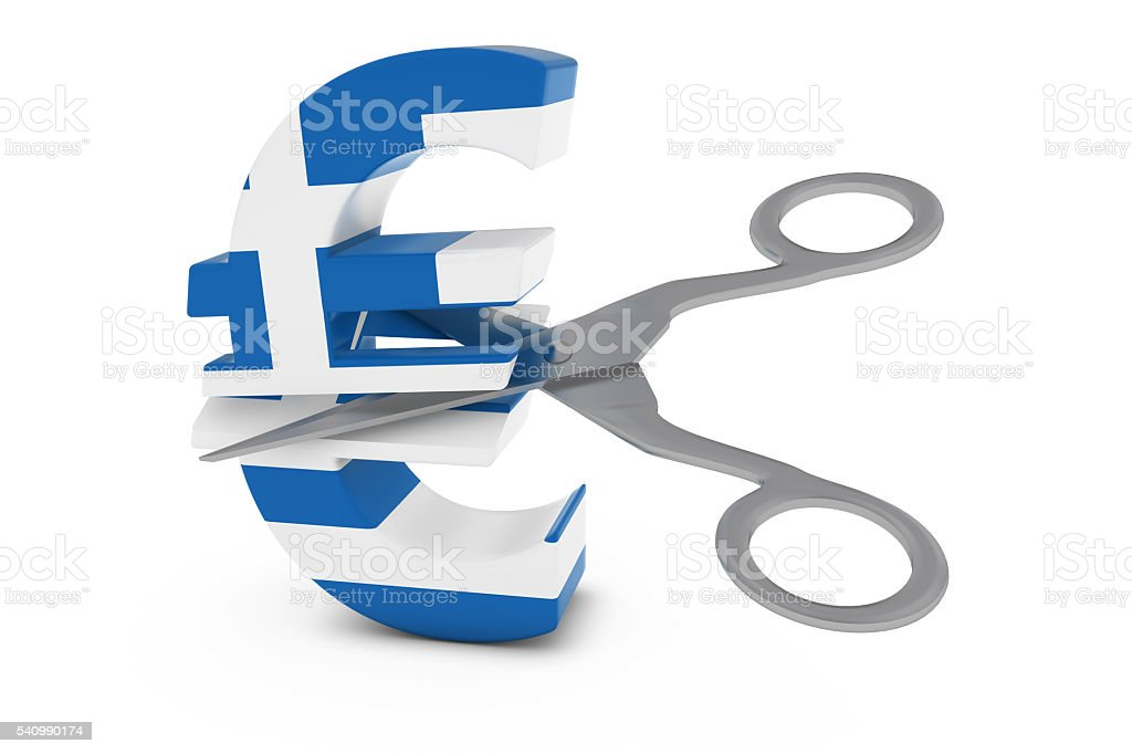 Greek Flag Euro Symbol Cut in Half with Scissors stock photo