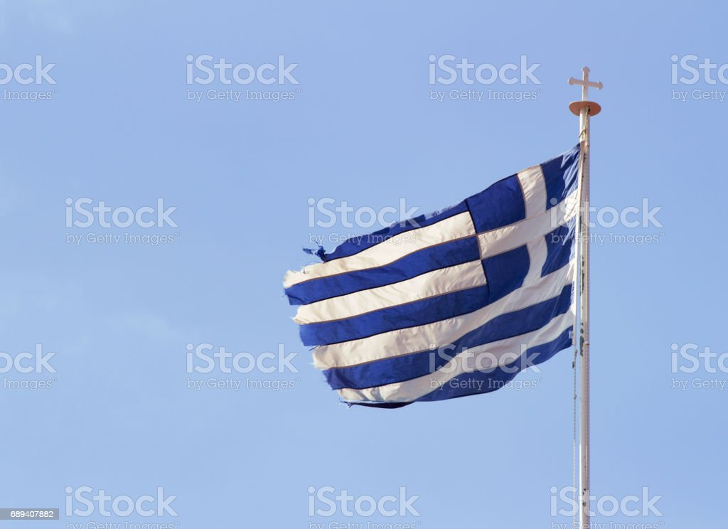 Greek flag on Orthodox Monastery. Cyprus. stock photo