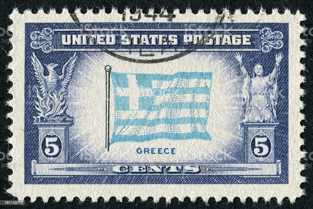 Greek Flag Stamp royalty-free stock photo