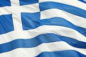 Greek Flag Waving Outdoors Full Frame Horizontal Close-Up