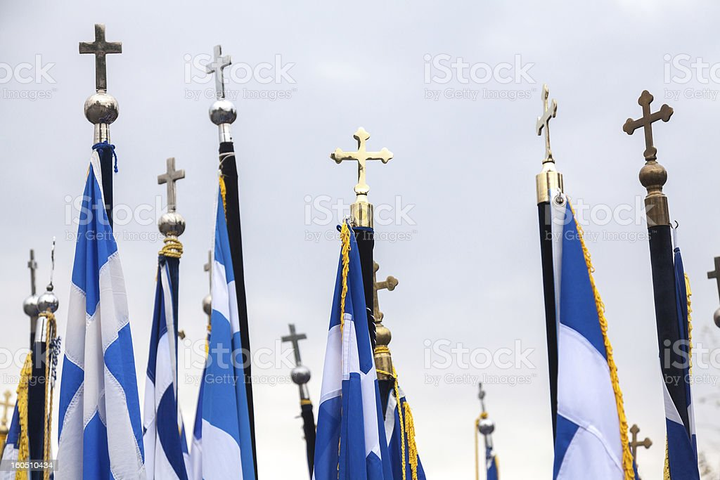 Greek flags royalty-free stock photo
