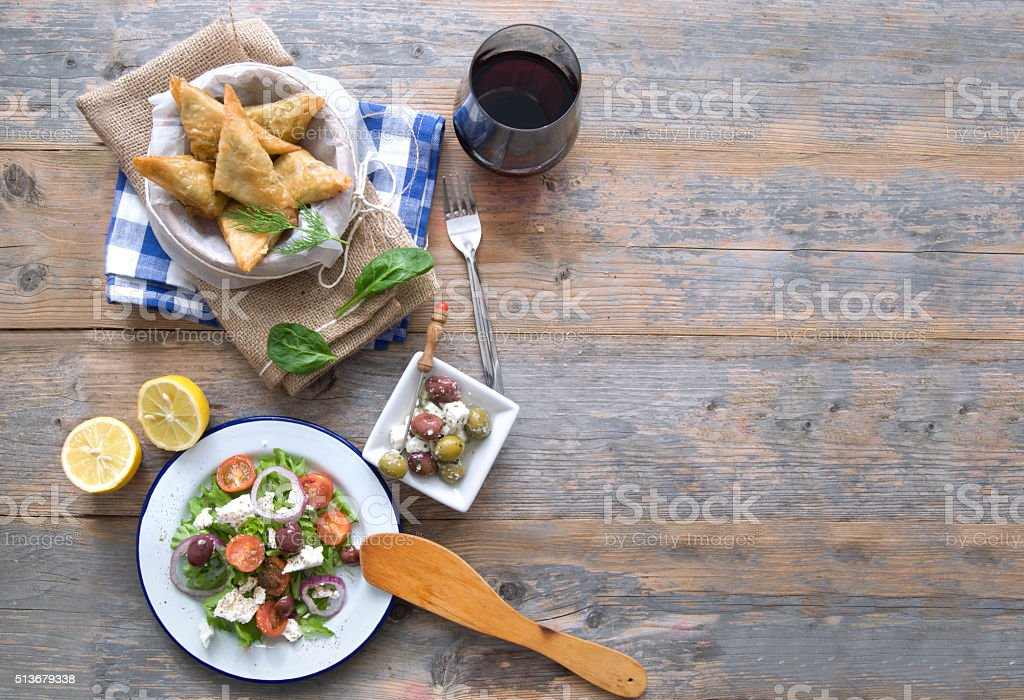 Greek food background stock photo