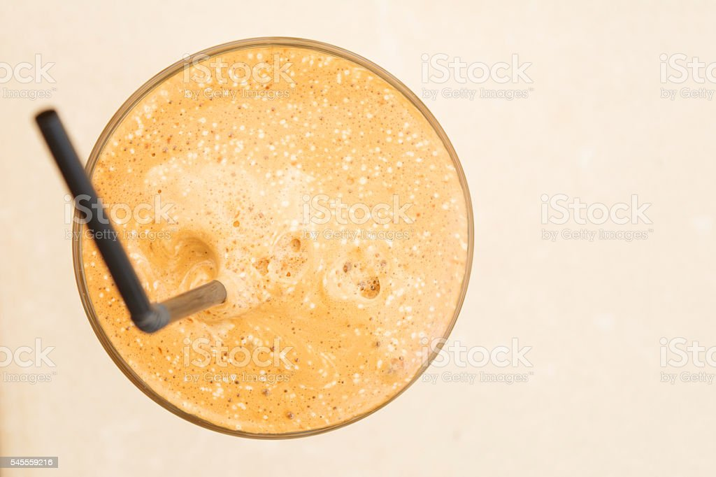 Greek frappe and copy-space, view from above stock photo