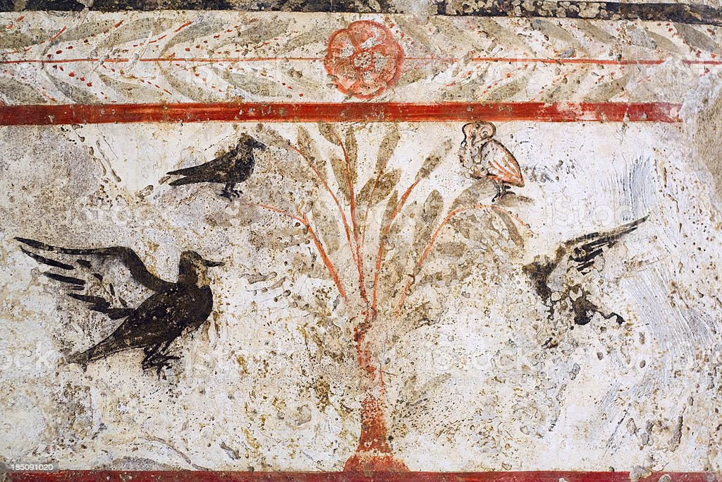 Greek Fresco of Olive Leaves and Birds stock photo