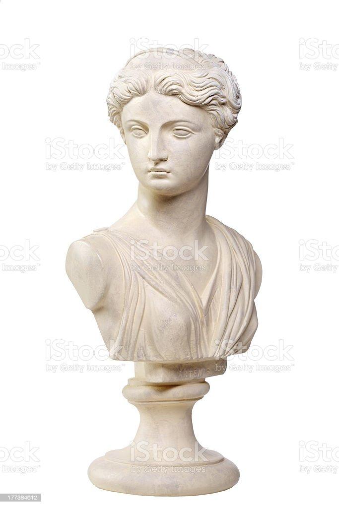 Greek Goddess Artemis - Stone bust copy stock photo