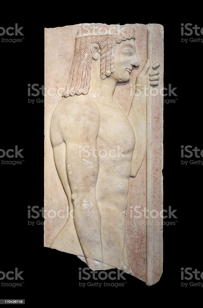 Greek grave stele shows a young doryphoros (550 BC) stock photo