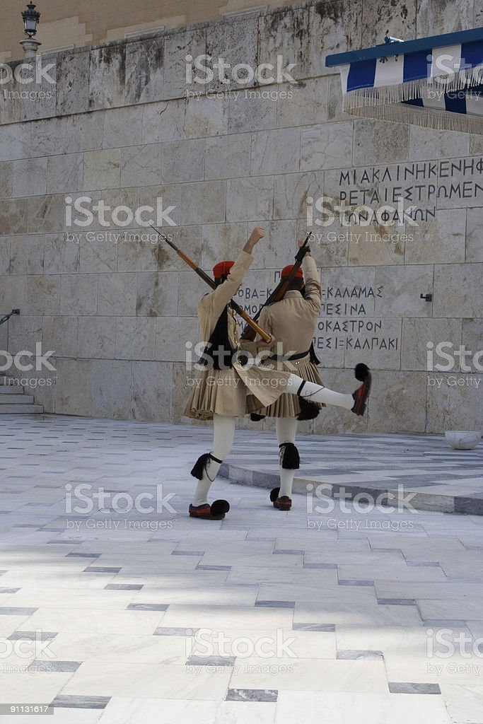 greek guards athens royalty-free stock photo