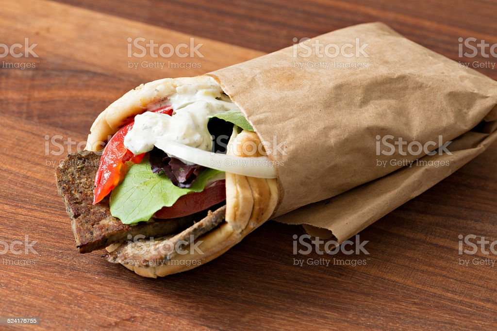 Greek Gyro Sandwich In A Wrapper stock photo