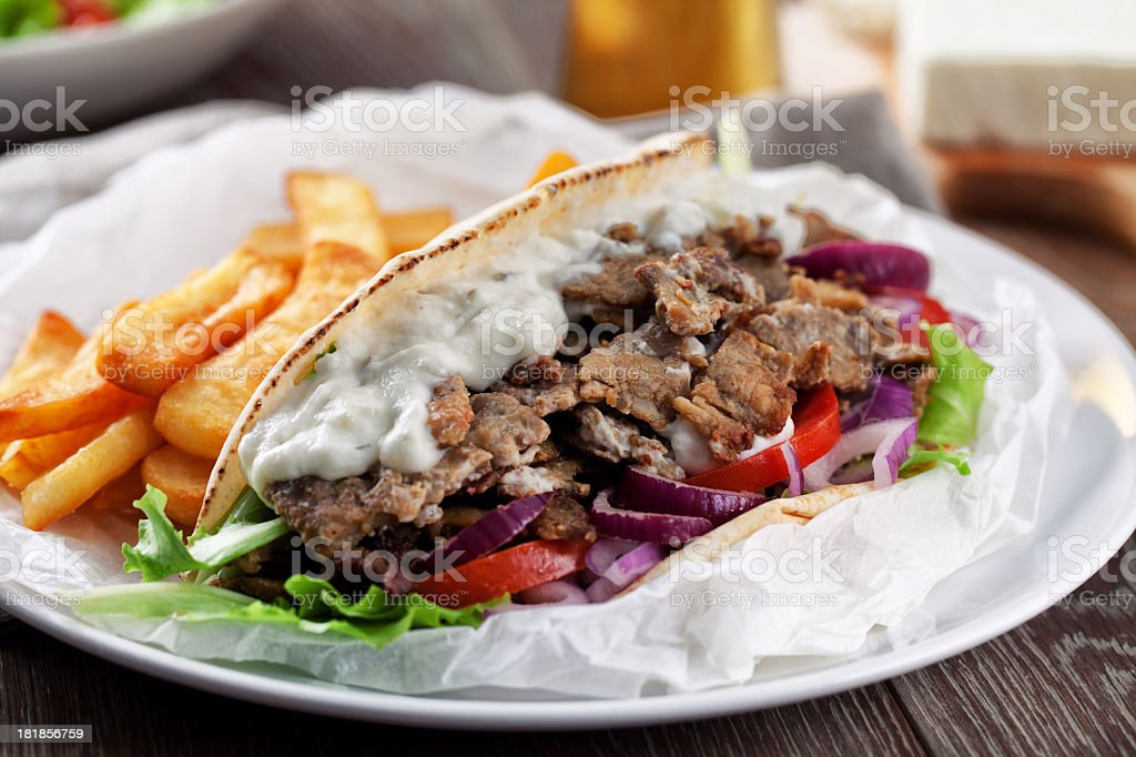 Greek Gyros with Fries stock photo