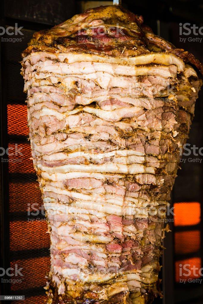 Greek gyros with pork meat stock photo