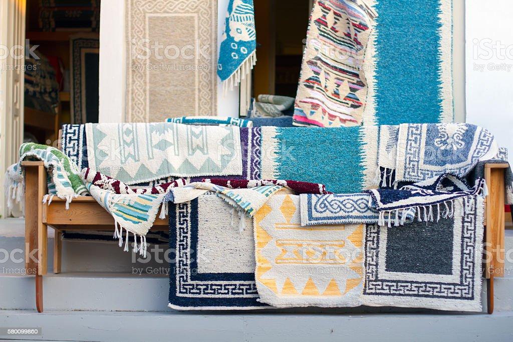 Greek handmade rugs in close up stock photo