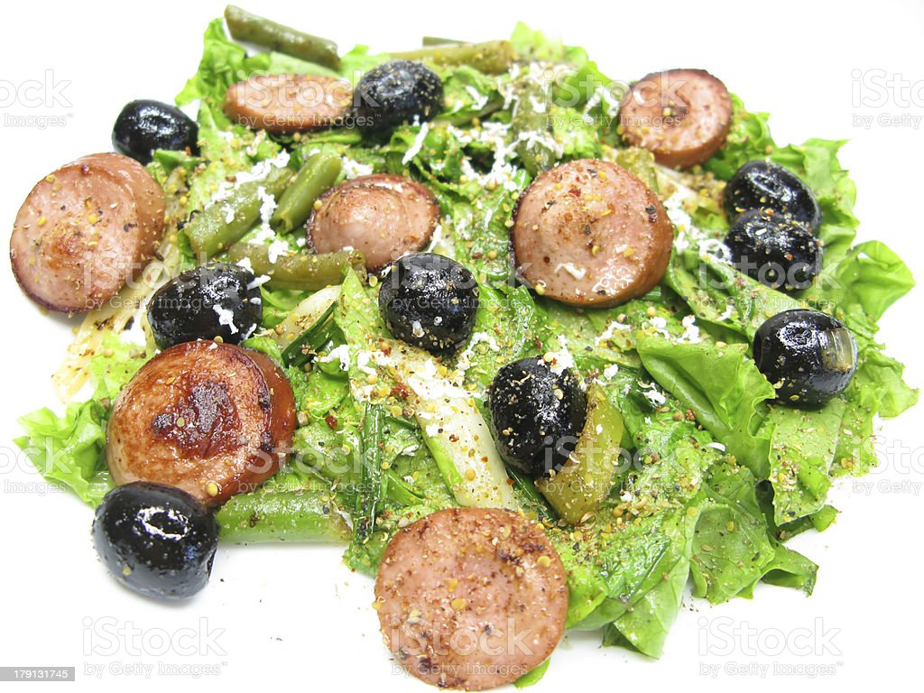 greek hot salad with sausage and olives royalty-free stock photo