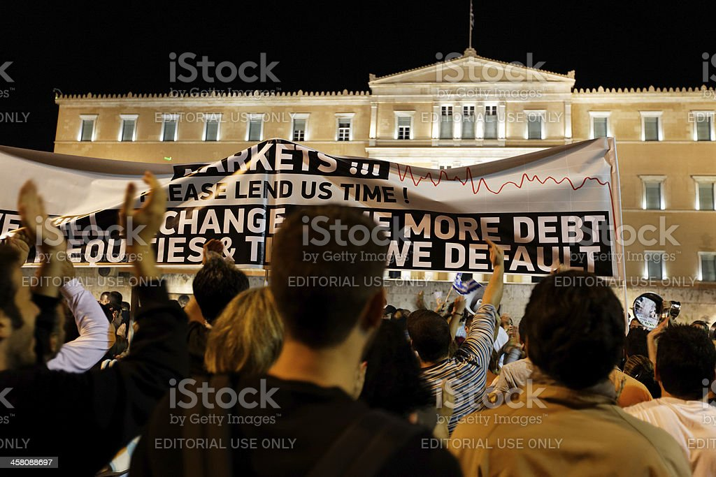 Greek 'Indignant' protests in Athens stock photo