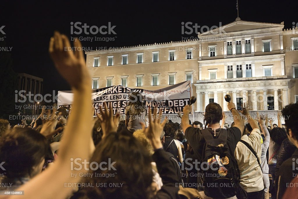 Greek 'Indignant' protests in Syntagma square stock photo