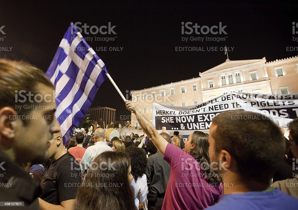 Greek 'Indignant' protests in Syntagma square royalty-free stock photo