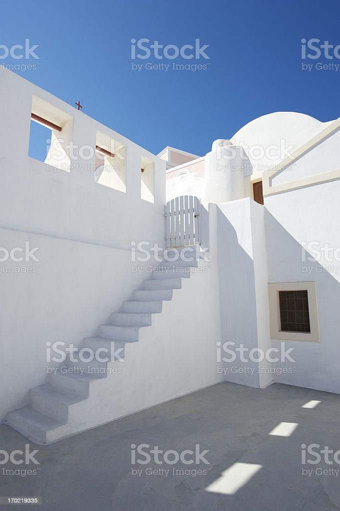 Greek Island Architectural Staircase Vertical Blue Sky royalty-free stock photo