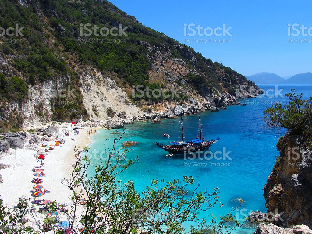 Greek island beach and blue sea in Lefkas stock photo