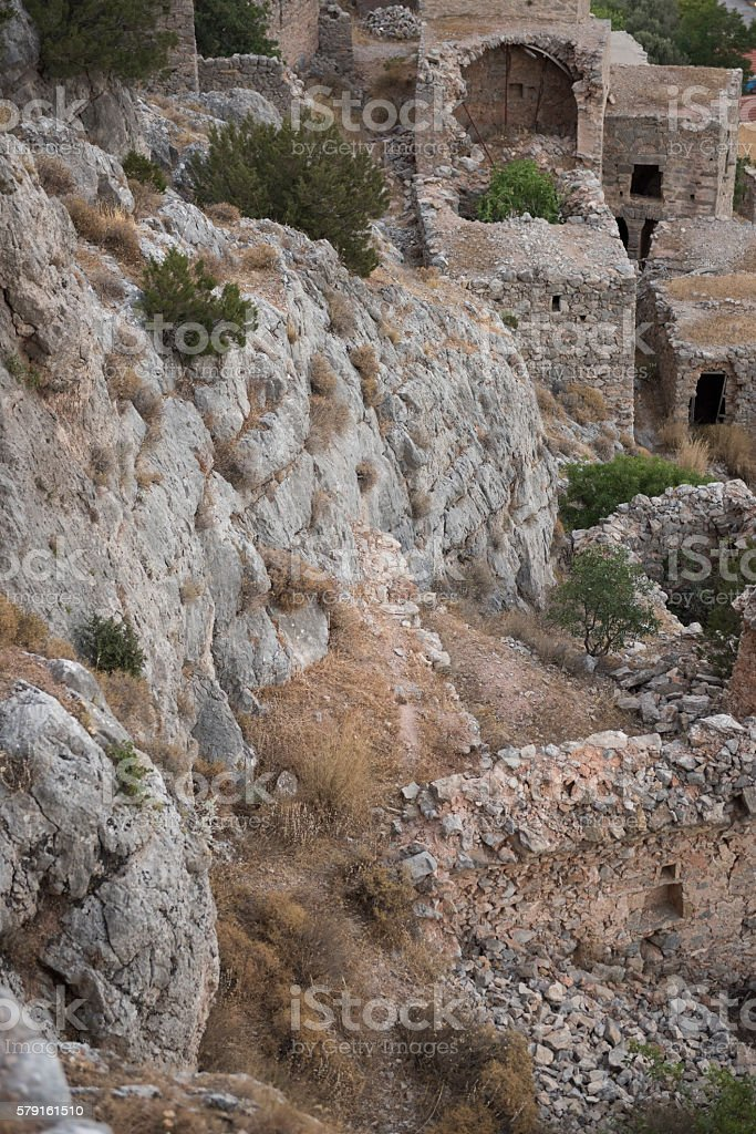 Greek Island ghost town abandoned after massacre and earth quake stock photo