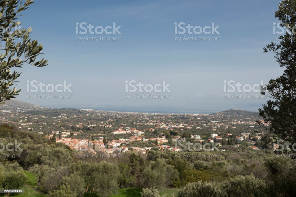 Greek Island of Chios and Aegean Sea in spring stock photo