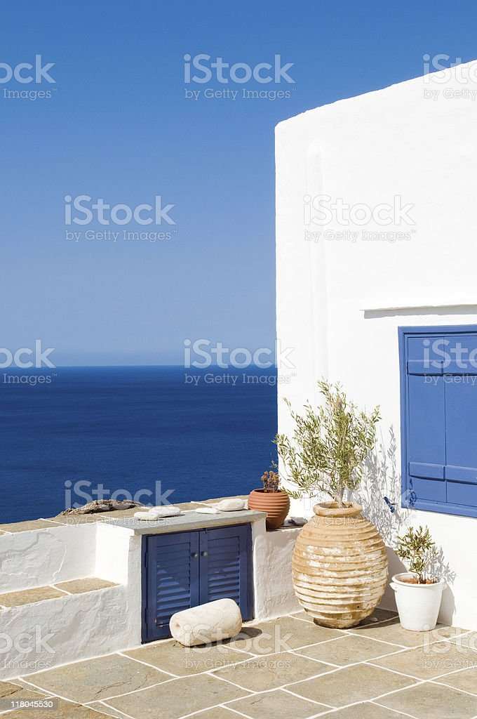 Greek island scene on the isle of Siphnos stock photo