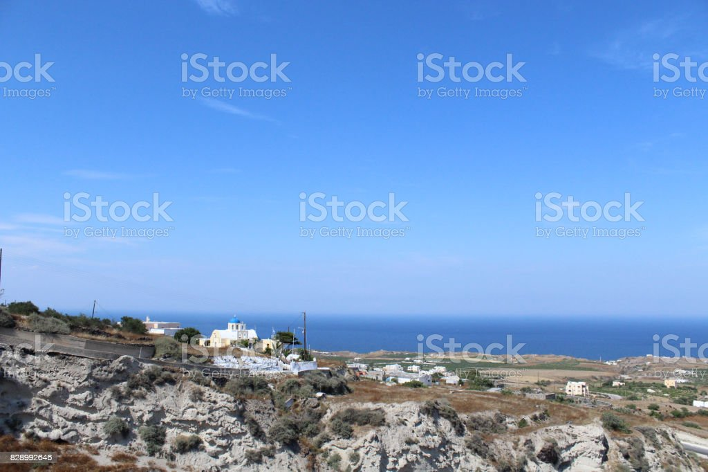 Greek Island Skyline View of Mountains stock photo