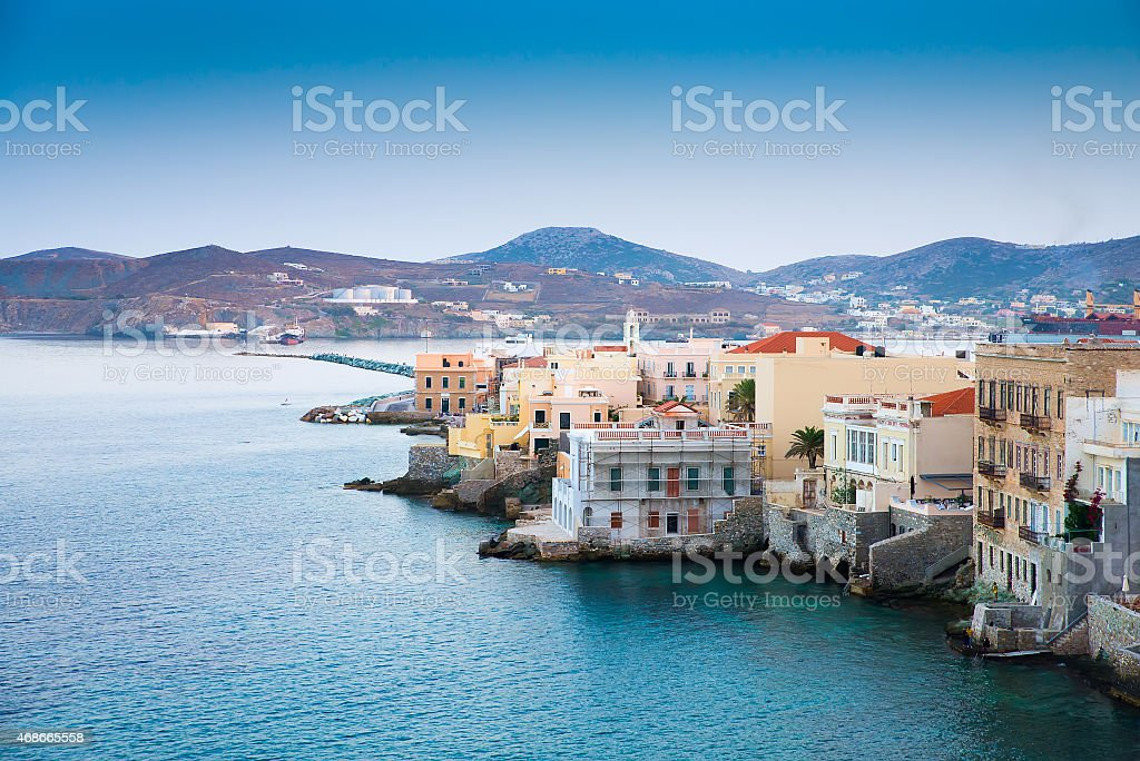 Greek island with colorful houses stock photo