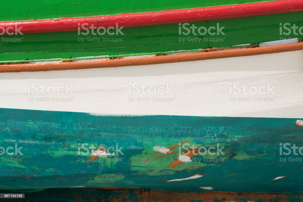 Greek Island wooden boat is made ready for boating season stock photo