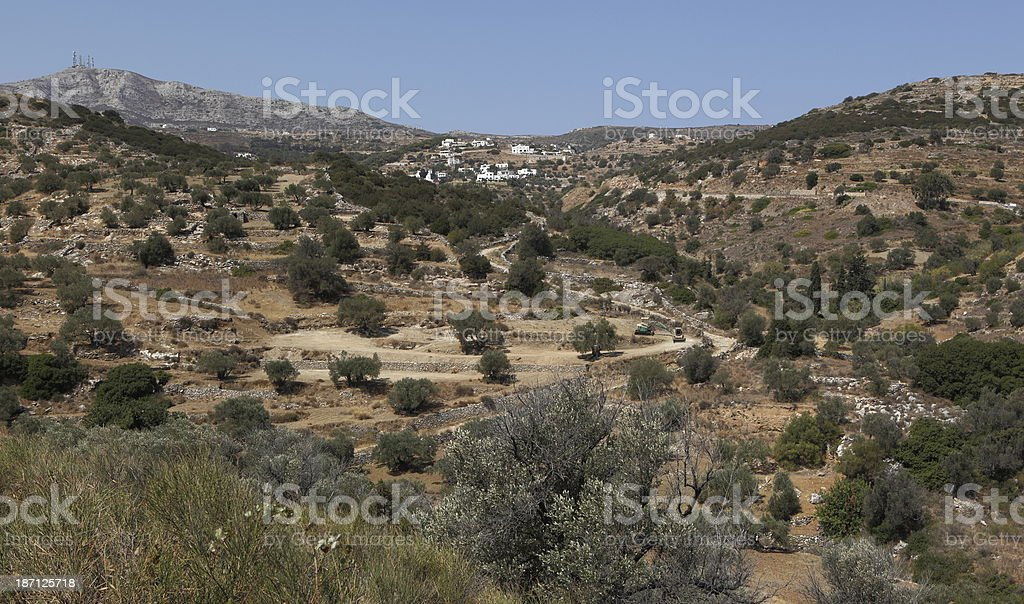 Greek landscape of Paros island stock photo