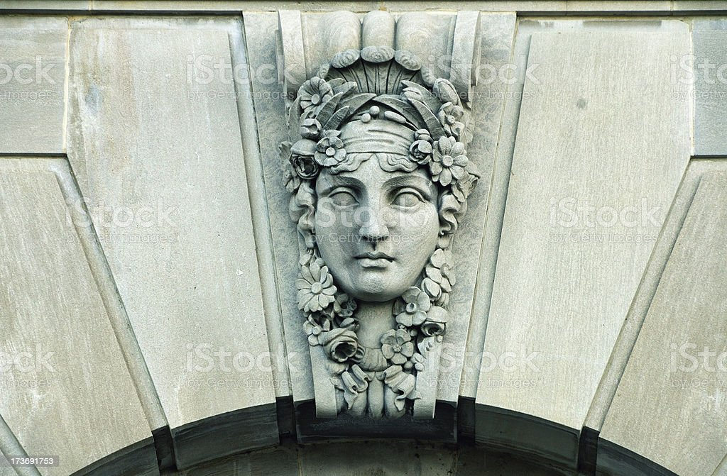 Greek Mask Architectural Element royalty-free stock photo