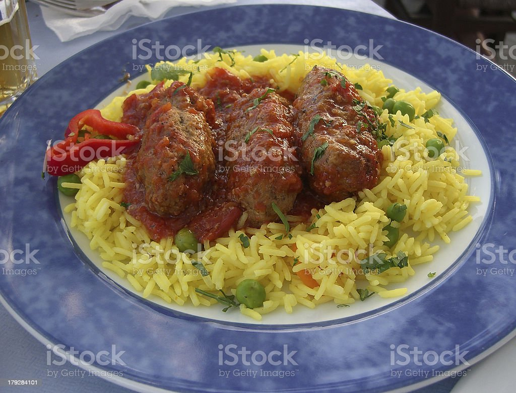 Greek meatballs with rice royalty-free stock photo