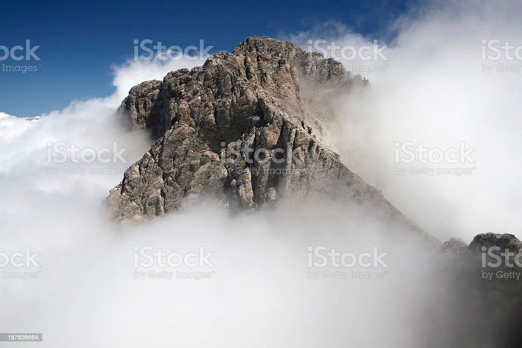 Greek Mt Olympus in clouds stock photo