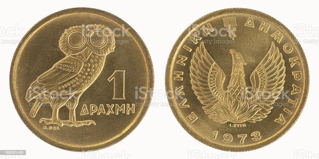 Greek One Drachma Coin stock photo